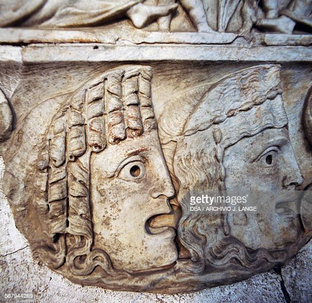 Tragic masks, bas-relief of a sarcophagus. Roman civilisation, 2nd century AD. Rome, Museo Nazionale Romano Terme Di Diocleziano