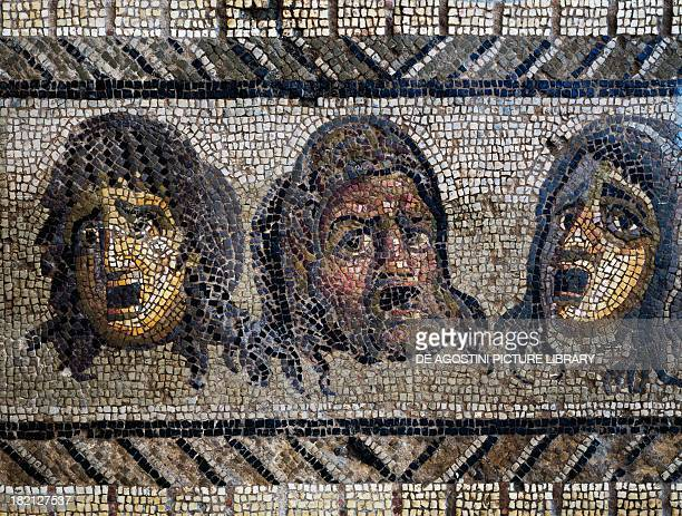 Tragic masks, detail from a mosaic of the Triumph of Dionysus uncovered in Daphne, Antioch, Turkey. Roman Civilisation, 2nd-3rd century. Antakya,...