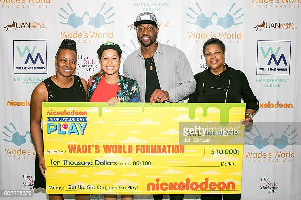Tragil Wade Manager of Public Affairs For Nickelodeon Sydney Cohn Dwyane Wade and Pastor Jolinda Wade attend Nickelodeon's Road To Worldwide Day of...