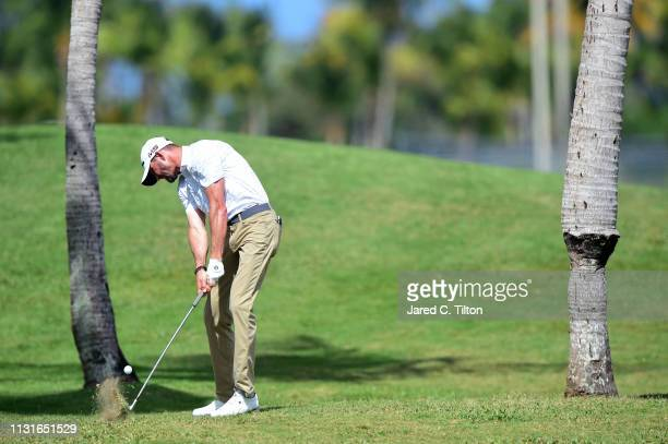 J Trahan plays a shot on the second hole during the third round of the Puerto Rico Open at Coco Beach Golf and Country Club on February 23 2019 in...