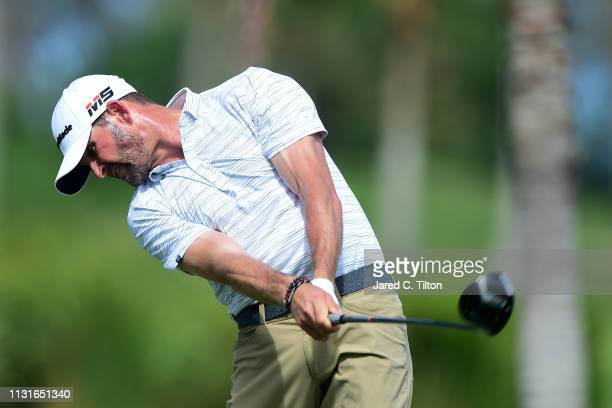 J Trahan plays his shot from the second tee during the third round of the Puerto Rico Open at Coco Beach Golf and Country Club on February 23 2019 in...