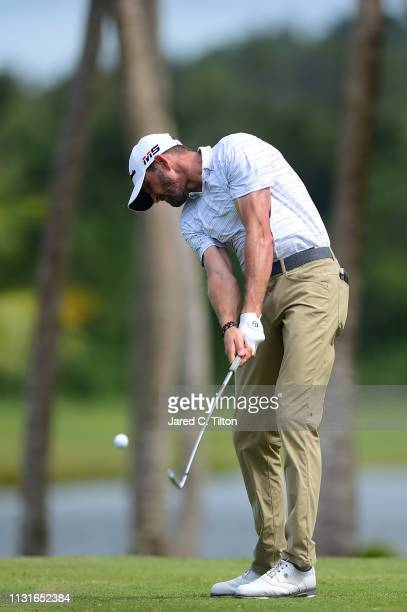 J Trahan plays his shot from the third tee during the third round of the Puerto Rico Open at Coco Beach Golf and Country Club on February 23 2019 in...