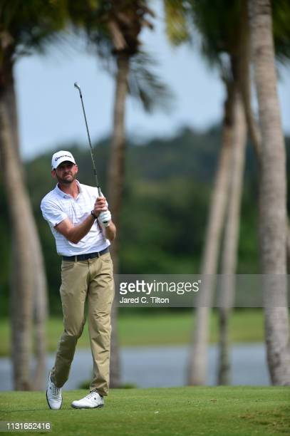 J Trahan watches his shot from the third tee during the third round of the Puerto Rico Open at Coco Beach Golf and Country Club on February 23 2019...
