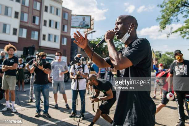 Trahern Crews, President of the Minnesota Green Party, speaks during a demonstration in front of the 2nd Precinct Police Station on June 25, 2020 in...