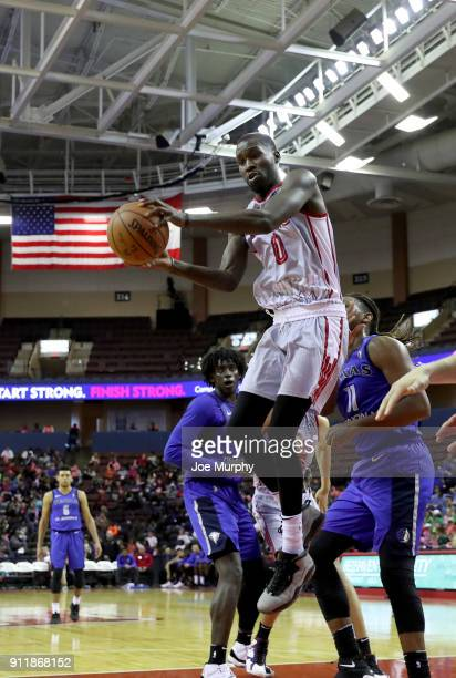 Trahson Burrell of the Memphis Hustle grabs the rebound against the Texas Legends during an NBA GLeague game on January 29 2018 at Landers Center in...