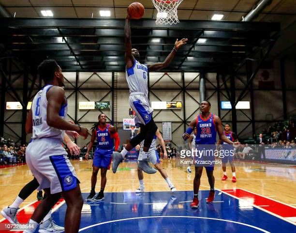 Trahson Burrell of the Texas Legends goes to the basket against the Grand Rapids Drive on December 12 2018 at DeltaPlex Arena in Grand Rapids...