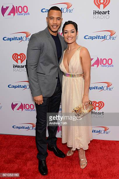 Trai Byers and Grace Gealey attend Z100's iHeartRadio Jingle Ball 2015 arrivals at Madison Square Garden on December 11 2015 in New York City