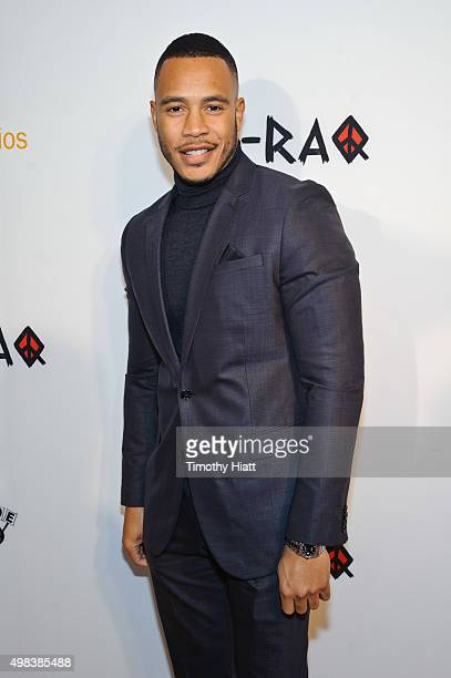 Trai Byers attends the world premiere of ChiRaq at The Chicago Theatre on November 22 2015 in Chicago Illinois