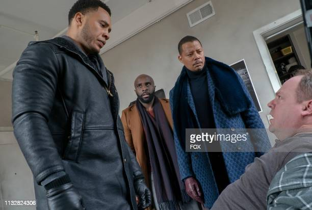 Trai Byers guest star Toby Onwumere Terrence Howard and guest star Christopher Meister in the My Fault is Past spring premiere episode of EMPIRE...