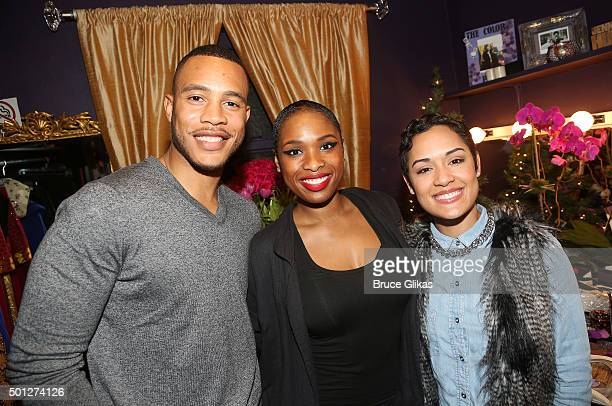 Trai Byers Jennifer Hudson and Grace Gealey pose backstage at the hit musical The Color Purple on Broadway at The Jacobs Theater on December 13 2015...