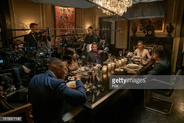 """Trai Byers, Taraji P. Henson, Terrence Howard, Meta Golding and Bryshere Y. Gray behind the scenes in the """"Love Me Still"""" episode of EMPIRE airing..."""