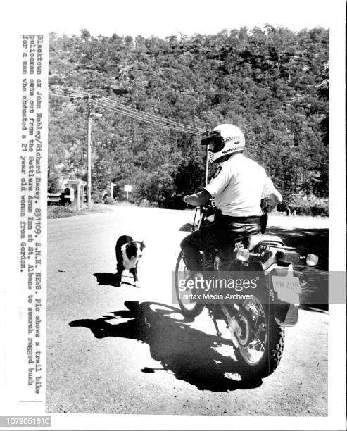 A Trail bike policeman sets out from the Settlers Arms Inn at St Albans to search rugged bush for a man who abducted a 21 year old woman from Gordon...