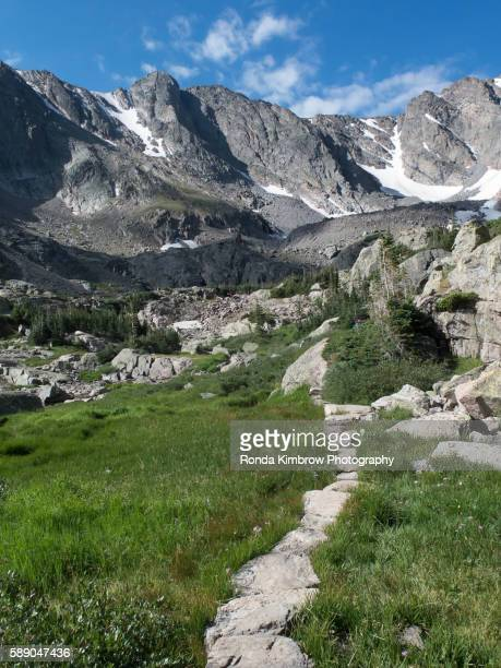 Trail Leading into the Rugged Peaks of the Colorado Mountains in the summer