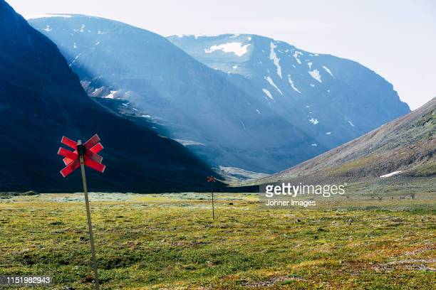 trail markings in mountains - sweden stock pictures, royalty-free photos & images