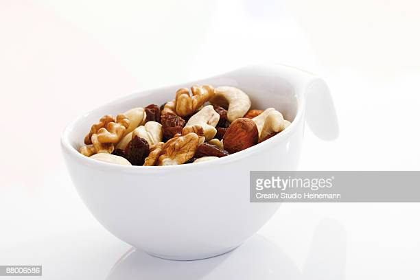 Trail mix in plastic cup, close-up