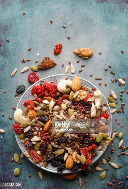 trail mix nuts - antioxidant stock pictures, royalty-free photos & images