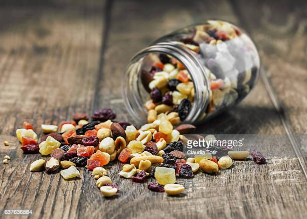 trail mix - nut food stock photos and pictures