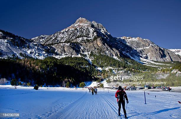 trail of pian del colle - bardonecchia stock photos and pictures