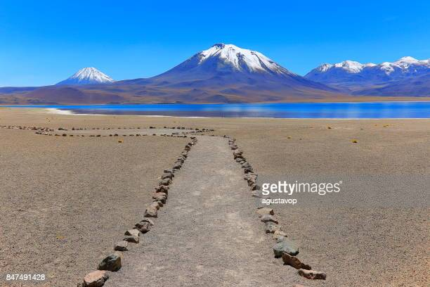 Trail path to Lagunas Miñiques and Miscanti - Lakes and snowcapped Volcanoes mountains - Turquoise lakes and Idyllic Atacama Desert, Volcanic landscape panorama – San Pedro de Atacama, Chile, Bolívia and Argentina border