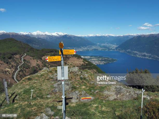 Trail Post Along Hiking Trail In The Swiss Lepontine Alps