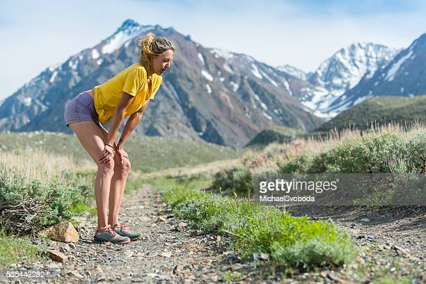 Trail Runner Exhausted After Her Run In The Mountains