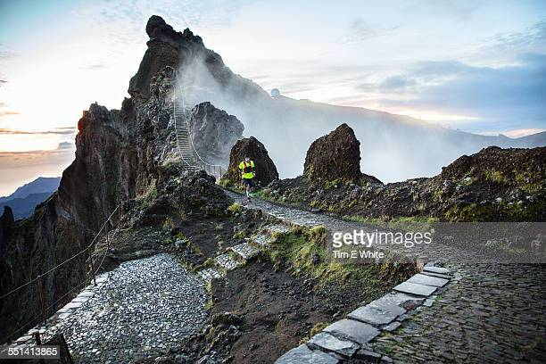 trail runner, madeira, portugal - madeira stock photos and pictures