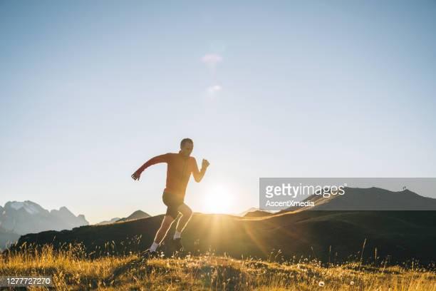 trail runner attraversa il prato alpino all'alba - forward athlete foto e immagini stock