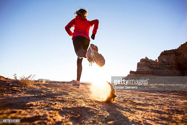 trail running at sunrise. - utah stock pictures, royalty-free photos & images