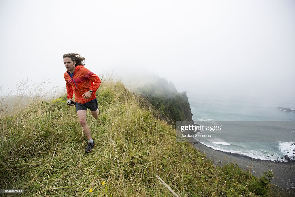 Trail running in Oregon. : Stock Photo