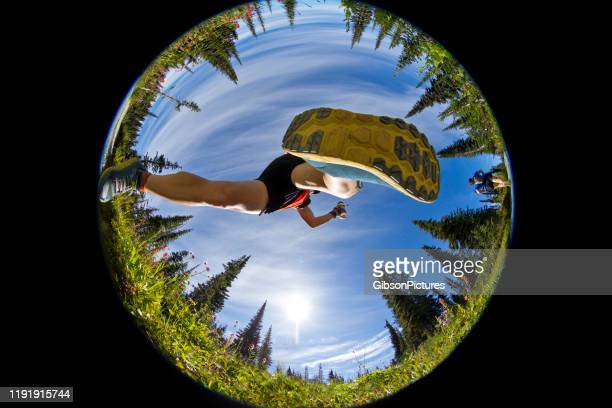 trail running jump - sports footwear stock pictures, royalty-free photos & images