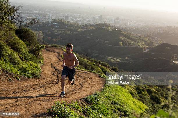 Trail running outside of Los Angeles
