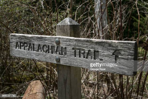 Trail sign at Clingmans Dome, a major scenic viewing point along the Appalachian Trail, is viewed on May 11, 2018 near Cherokee, North Carolina. The...