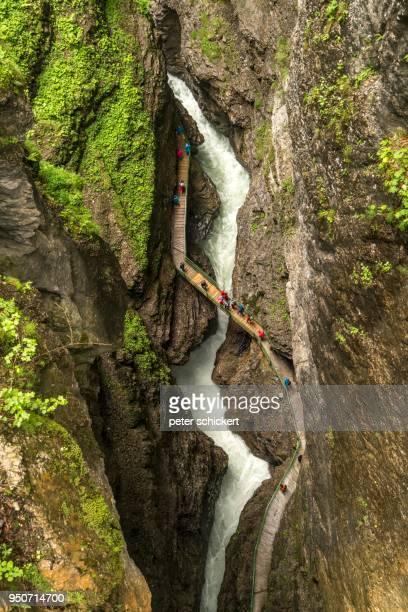 trail through the gorge breitachklamm, kleinwalsertal near oberstdorf, oberallgaeu, bavaria, germany - oberstdorf stock pictures, royalty-free photos & images