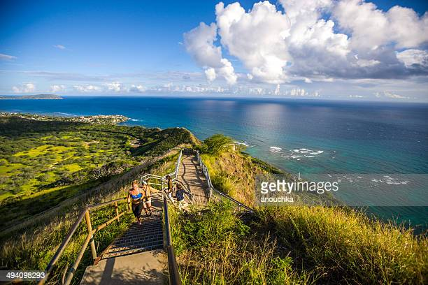 trail to diamond head crater, oahu, hawaii - volcanic crater stock pictures, royalty-free photos & images