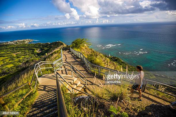 trail to diamond head crater, oahu, hawaii - diamond head stock photos and pictures