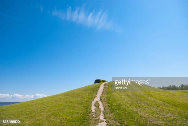 trail to the hilltop on a sunny day - grass area stock pictures, royalty-free photos & images