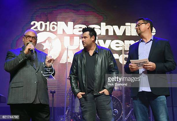 Trailblazer Award to John Marks presented by Dee Jay Silver and SiriusXM The Highway's Storme Warren attend the 2016 Nashville Universe Awards at...
