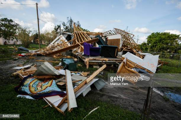 A trailer home is destroyed by the effects of Hurricane Irma after it passed through Immokalee Fla on Sept 11 2017