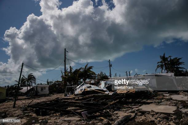 Trailer homes are destroyed by the effects of Hurricane Irma at the Sea Breeze trailer park in Islamorada Florida Keys on Sept 12 2017