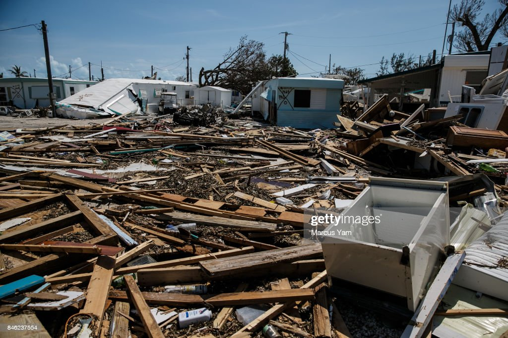 Trailer homes are destroyed by the effects of Hurricane Irma at the Sea Breeze trailer park in Islamorada, Florida Keys, on Sept. 12, 2017.