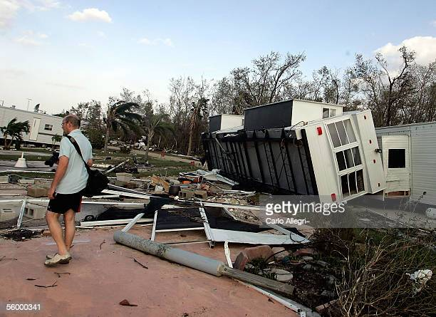 A trailer lies overturned as a result of Hurricane Wilma which hit earlier in the morning October 24 2005 in Chokoloskee Florida Wilma slammed into...