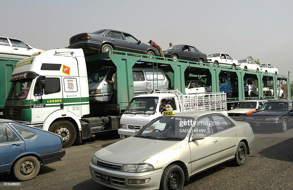 A trailer loaded with second-hand cars i Pictures | Getty Images