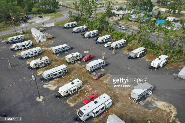 Trailer park built by the Federal Emergency Management Agency to help residents displaced by Hurricane Michael sits in a neighborhood on May 10, 2019...