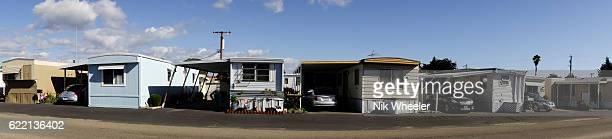 trailer park homes on street in Grover Beach, near Pismo Beach in Central California, USA