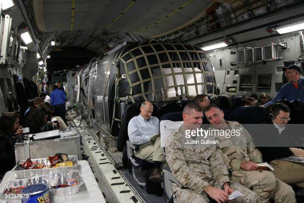 A trailer sits inside a US Air Force C17 cargo plane where US Secretary of Defense Robert Gates sits while enroute to Baghdad Iraq December 10 2009...