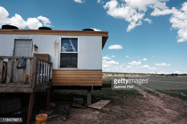 Trailer stands on land belonging to members of the Navajo Nation in the town of Thoreau on June 06, 2019 in Thoreau, New Mexico. Due to a legacy of...