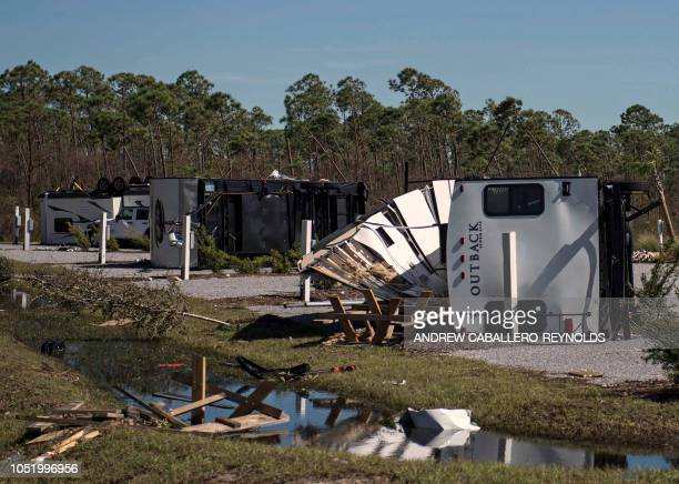 Trailers destroyed by winds are seen in Port Saint Joe Florida two days after Hurricane Michael hit the area on October 12 2018 Rescue teams using...
