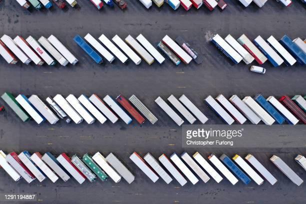 Trailers line up at the Birkenhead-Belfast Terminal ready to board Stena Line's Irish sea ferry Stena Edda on December 14, 2020 in Liverpool,...