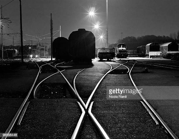 Train and rail shapes in the night