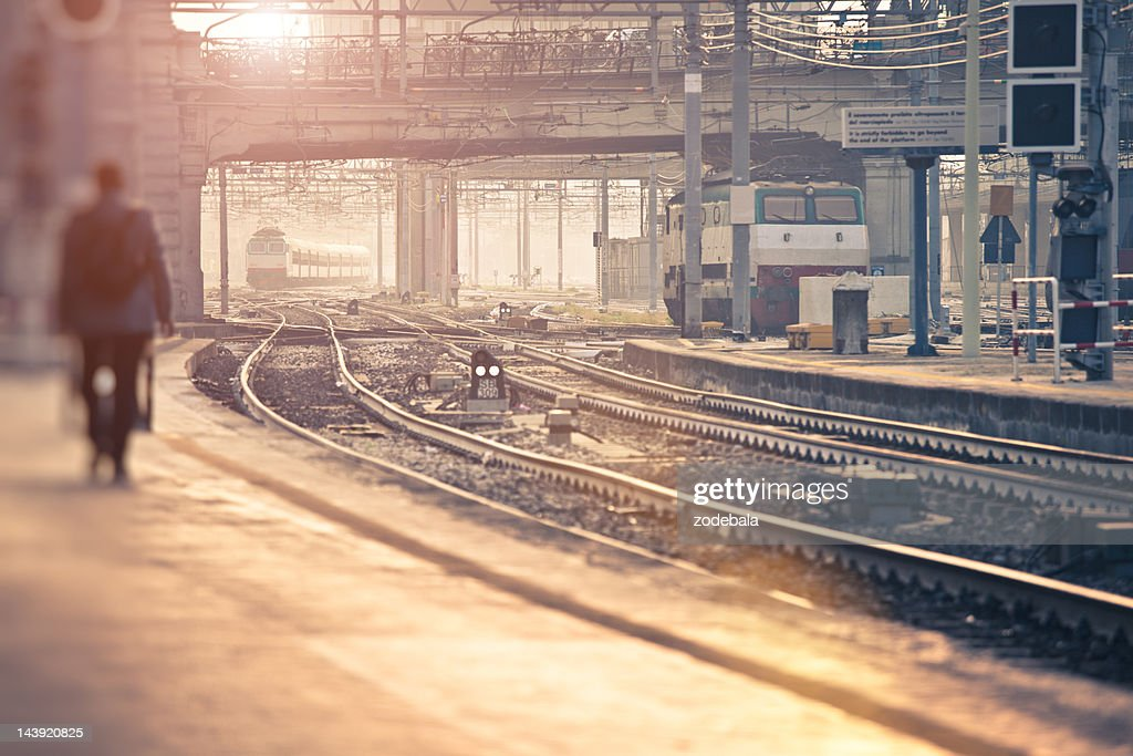 Train Approaching the Station at Morning : Stock Photo